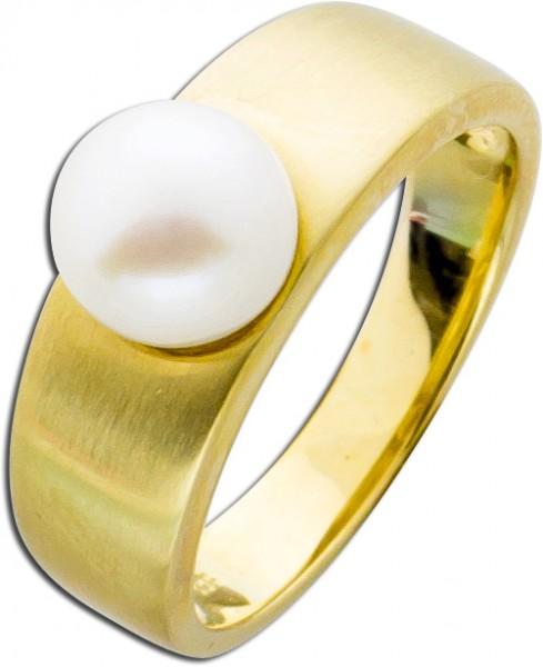 Perlen Ring Gold 333 weiße Süßwasserzuchtperle