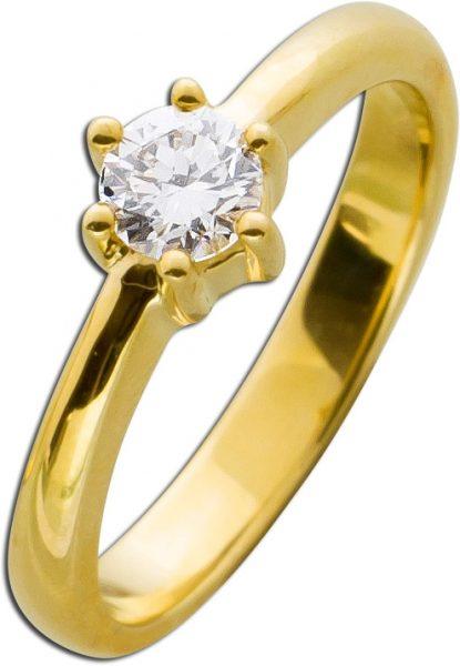 Diamant Brillant Ring Verlobungsring Gelbgold 585 0,45ct TW / Lupenrein Krappenfassung