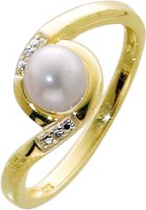 Ring in Gold 333/-.mit 2 Diamanten 0,008...