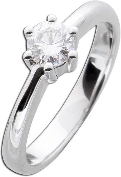 Verlobungsring Solitär Diamant Brillant Ring Weißgold 585 0,53ct TW / Lupenrein