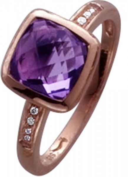 Ring in Roségold 333/-mit Amethyst und 8 Brill.0,03ct SI/W