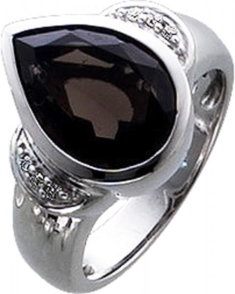 Ring in Weissgold 333/-Rauchquarz 14X10m...