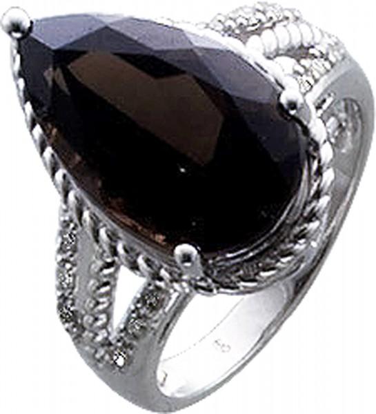 Ring in Weissgold 333/-Rauchquarz 16X10mm, 12 Dia.0,09ct, 8/8, W/P, poliertRKB 15mm, Stärke 1,1mm