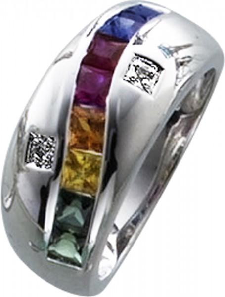 Ring in Weissgold 333/-mit je 2 gruenen, roten,blauen und gelben Sapphiren2 Dia. 0,01ct, 8/8, W/Ppoliert, RKB 9mm,Stärke 1mmlieferbar 17-20mm