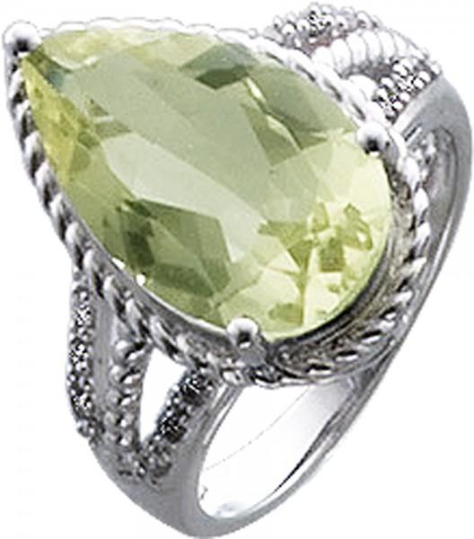 Ring in Weissgold 333/-mit einem Lemonenquarz16X10mm, 12 Dia. 0,09ct.8/8, W/P, poliert,RKB 15mmStärke 1,1mm, Lieferbar17-20mm