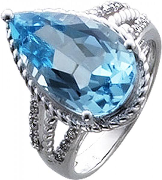 Ring in Weissgold 333/-,mit einem Blautopas 16X10mmmit 12 Dia. 0,09ct, 8/8,W/ppoliert, RKB 15mm, Stärke1mm, lieferbar in 16-20mm