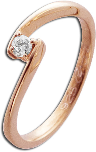 Ring in Rotgold 585/- mit 1Brillanten 0,10ct W/SI