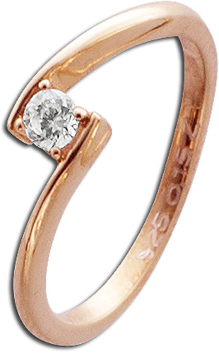 Ring in Rotgold 585/- mit 1Brillanten 0,15ct W/SI