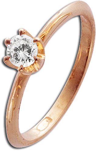 Ring in Rotgold 585/- mit 1Brillanten 0,20ct W/SI