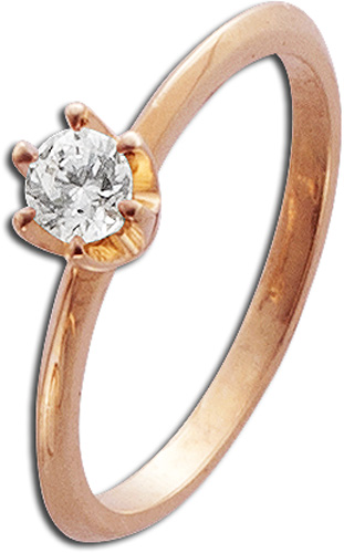 Ring in Rotgold 585/- mit 1Brillanten 0,25ct W/SI