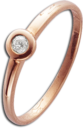 Ring in Rotgold 585/- mit 1Brillanten 0,05ct W/SI