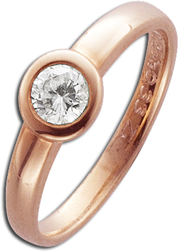 Ring in Rotgold 585/- mit 1Brillanten 0,33ct W/SI