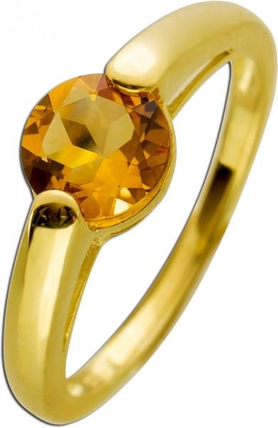 Ring Gelbgold 333 zitronengelber Citrin ...