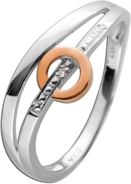 Diamantring Weißgold Roségold 333/- weißen Diamant 0,004ct W/P1