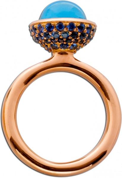 Ring Rosegold 750 mit Blautopas Cabochon...