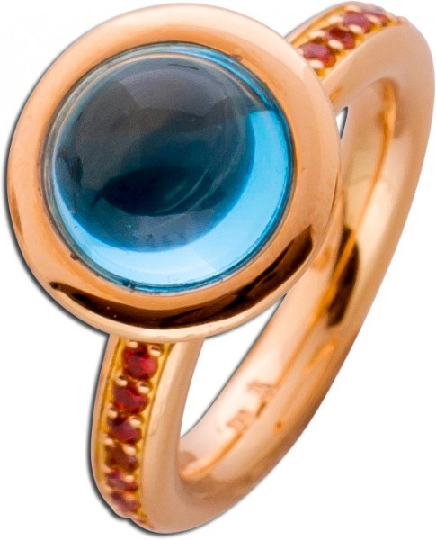 Ring Rosegold 750 Blautopas Cabochon ca ...