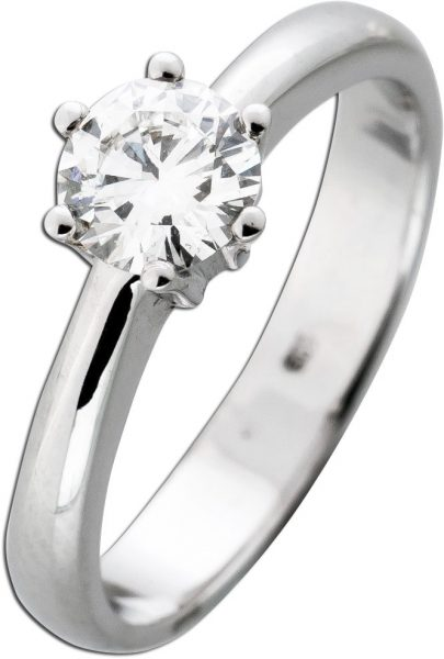 Solitär Ring Diamant Brillant 0,70ct W / VVSI Weißgold 585 Vorsteckring Verlobungsring