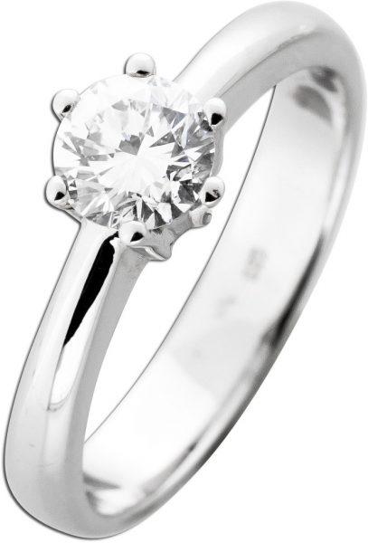 Brillantring Diamantring 0,71ct W / VVSI Weißgold 585 Beisteckring Solitär