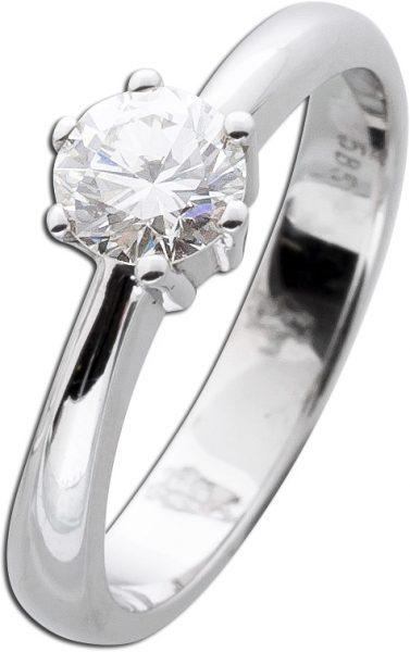 Solitär Ring  Diamant Brillant Verlobungsring Weißgold 585/- 1 Brillant 0,70ct W/VVSI