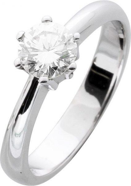 Diamant Brillant Ring Solitär Verlobungsring Weißgold 585/- 14 Karat  0,79ct W / VVSI