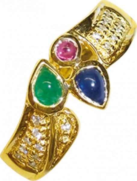 Goldring in Größe 20 aus feinem Gelbgold 585/-, hochglanzpoliert, besetzt mit Rubin, Smaragd, Saphir und 17 Diamanten 8/8 W/P, Ringkopfbreite 8,5mm, Stärke 4mm. Ein Einzelstück aus unserem Hause – super edel durch die hochwertige Verarbeitung. Abramowicz