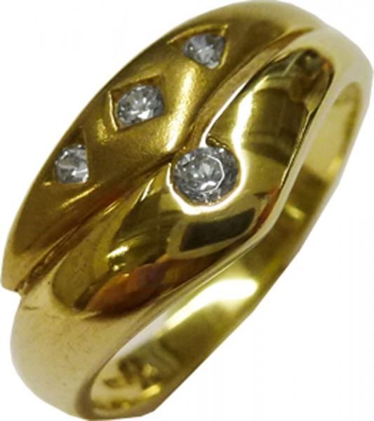Goldring aus feinem Gelbgold 333/-, besetzt mit 4 strahlenden Zirkonia, Größe 17,2 mm. Der Ring hat eine gleichbleibende Ringschiene und ist edel  hochglanzpoliert. Ein Unikat aus unserem Hause im exklusiven Design und von zeitloser Eleganz und dies in Pr
