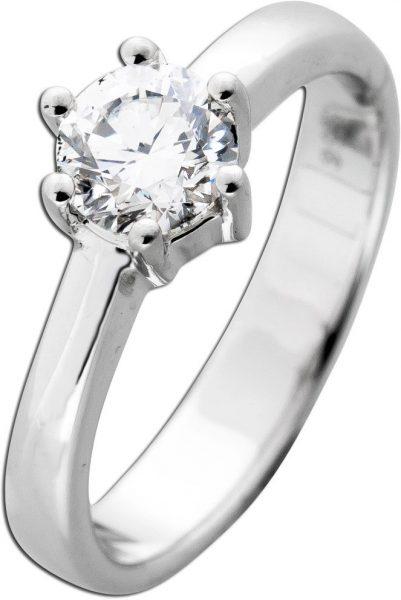 Diamantring Brillant Schliff Weißgold 585 Diamant 0,81ct TW / VVS2 IGI Zertifikat