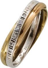 Goldring, eleganter duchlegierter Tricolorring in feinem Weiß.-Gelb.- und Rotgold 333/- Hochglanzpoliert, in Ringgröße 18,5mm, verziert mit 6 feinen funkelnden Diamanten 8/8 W/P, Maße: Breite 4mm, Stärke 1,7mm, ein edler Hingucker, in Spitzenqualität von