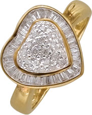 Goldring in Größe 17,5mm, atemberaubend schön ist dieser Ring in feinstem Gelbgold 750/- der Herzring ist besetzt mit 50 feinen Baguette Brillanten 0,64ct TW/P1 und 25 Diamanten 8/8 W/P, der Ring ist hochglanzpoliert und hat eine Ringkopfbreite von 14mm u