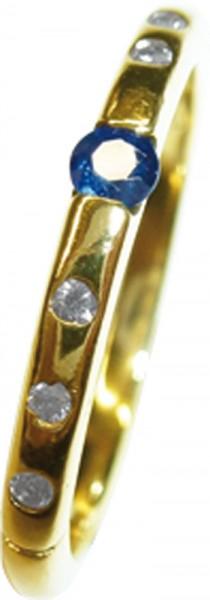 glamouröser Ring in feinem Gelbgold 333/-, mit 6 strahlenden Brillanten zus 0,12ct TW/P1, und einem feinen blauen safir Ø 3mm, Breite 2,3, Stärke 1,8mm, in Ringgröße 19mm, der Ring ist hochglanzpoliert, ein Einzelstück zum Schnäppchenpreis, Kunst kommt vo
