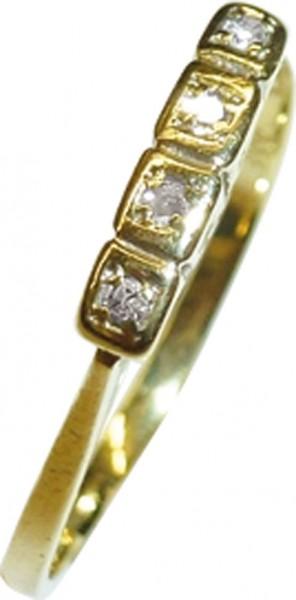 Eleganter Ring in feinem Gelbgold 333/- mit 4 traumhaft strahlenden Diamanten 8/8 W/P, Breite 2,5mm, Stärke 0,80mm, hochglanzpoliert, in Ringgröße 17,5mm, die Größe kann auf Wunsch verändert werden. Feine Goldschmiedekunst zum Schnäppchenpreis von Deutsch