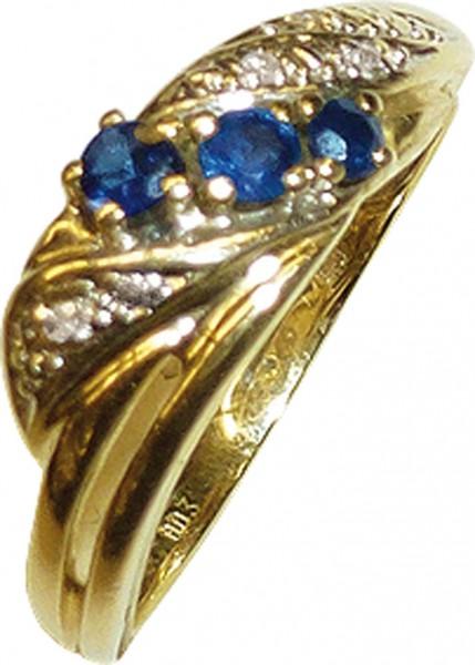 glamouröser Ring in hochwertigem Gelbgold 585/- mit 3 feinen nachtblauen Safiren und 4 funkelnden Diamanten 8/8 W/P, Ringkopfbreite 6,2mm, Stärke1,2mm, der Ring ist hochglanzpoliert, in Ringgröße 17mm, die Größe kann auf Wunsch geändert werden, ein Einzel