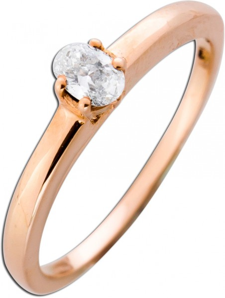 Solitär Ring Verlobungsring Roségold 585 Diamant 0,14ct River/IF Ovalschliff