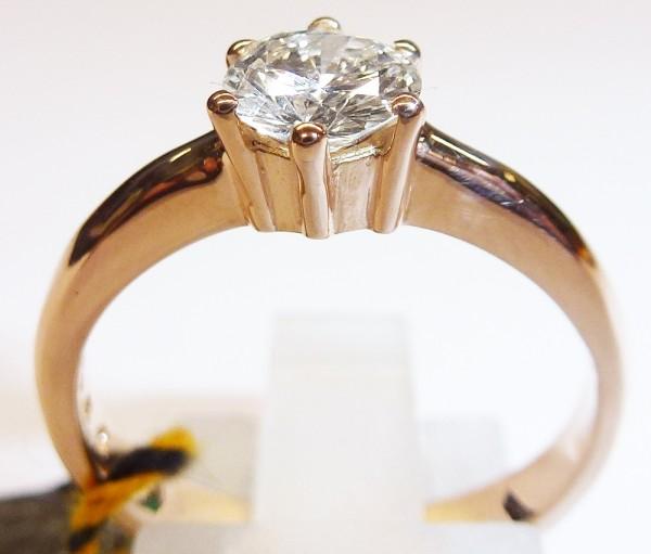 Solitär Ring Verlobungsring Roségold 585/- 1 Brillant 0,66ct TW/IF