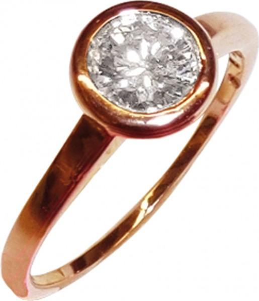 feiner edler Ring in Rosegold 585/- mit einem Brillant 0,60ct Riv/LP in Zargenfassung, mit schmaler aber massiver Schiene, Br 5,7mm, St 1,5mm, Größe 18mm, die Größe kann auf Wunsch abgeändert werden, ein Stilvoller Ring zum Sensationspreis, Abramowicz aus