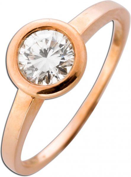Solitär Ring Diamant Roségold 585 Verlobungsring Brillant 0,66ct TW / VSI