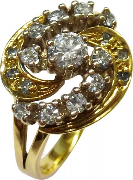 Märchenhafter Ring in feinem Gelbgold 585/-, poliert, mit 6 strahlenden Diamanten 8/8 W/P und 11 funkelnden Brillanten, 1 Brill 3,6mm 0,18ct, 10 Brill x 2,1mm 0,40ct und 6 Dia 0,06ct, zusammen ca. 0,64ct – Brillanten und Diamanten TW/VSI, Ringkopf 13mm, R
