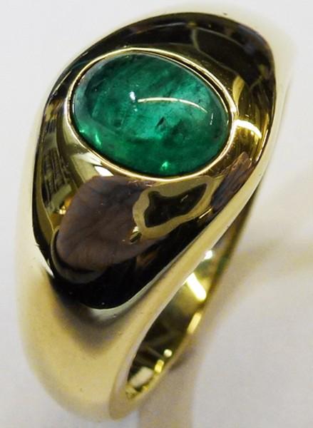 feiner Ring in Gelbgold 585/- mit grünem feinem Smaragd 6×7,5mm, Ringkopf 11mm, Stärke 1mm, mit natürlichen Einschlüssen, Ringgröße 20 mm Größe ist änderbar, massive Ringschiene für den perfekten Tragecomfort, hochwertiges Einzelstück zum Schnäppchenpreis