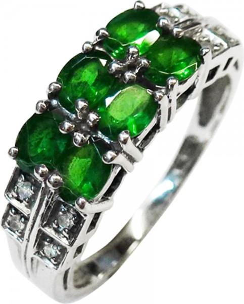 Hochwertiger feiner  Weißgoldring 333/- 6 columbianische grüne Smaragde 8 Diamanten