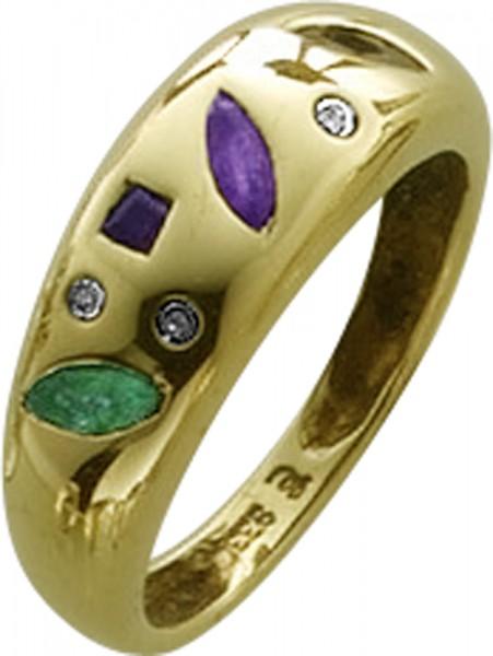 Gelbgoldring 333/- Smaragd, Safir, Navette Rubin 3 Diamanten 8/8  W/P  Größe 16 mm