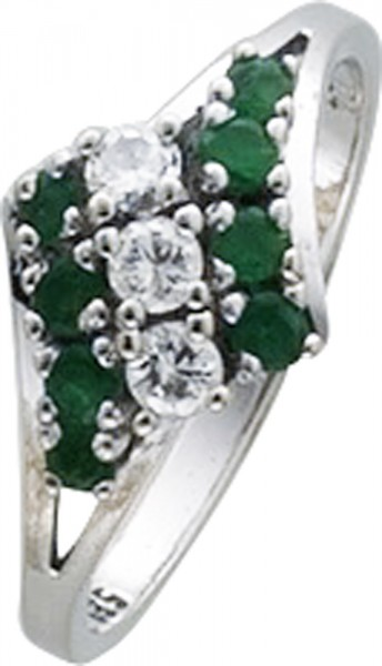 Edler Ring in hochglänzendem feinstem Weissgold 585/- 8 Smaragden 3 Brillanten nur in  18,8 mm Ringgröße
