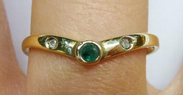 Ring in Gelbgold 585/- mit Smaragd 2 Diamanten 8/8 Schliff W/P, Ringgroesse 18,8mm nicht änderbar