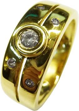 Ring in poliertem hochglänzendem Gelbgold 585/-5 Brillanten zus. 0,18 ct. W/P1,Größe 19mm, leicht änderbar