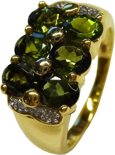 Ring in Gelbgold 333/- 6 dunkel grüne Turmaline, 5x4mm 8 Diamanten 8/8 Schliff W/P,  Größe 18 mm änderbar