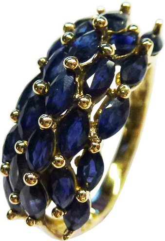 Ring in Gelbgold 585/- 23 nachtblaue fac...