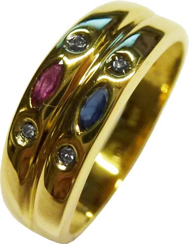 Rubin Saphir und Diamant Ring in Gelbgold 333/-  Ringbreite 6 mm in 18 mm nicht änderbar