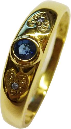 Saphir Ring in Gelbgold 333/- und 2 Diam...