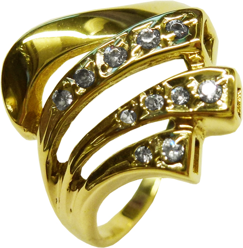 Ring in Gelbgold 585/- 11 Brillanten je 0,015ct zus 0,165ct, Ringkopf Breite 16mm Größe  20,5mm leicht änderbar
