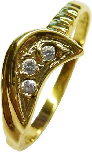 Ring in Gelbgold 585/- 3 Brillanten je 0,015ct  W/P, Ringkopf  Breite 7mm, Ringschiene 0,6mm, Größe 16,8mm