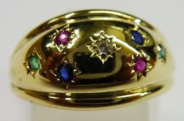UNIKAT Edelstein Ring poliertes feines Gelbgold 585/- 2 Smaragde, 2 Rubine, 2 Safire 1 Diamant 8/8 Schliff, Grösse 17mm